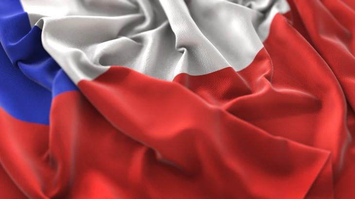 Chile Flag Ruffled Beautifully Waving Macro Close-Up Shot